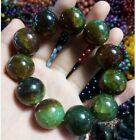 EXQUISITE NATURAL ICE CRACK GREEN AGATE ROUND BEAD BRACELET