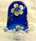 2011 Fenton Glass Final Offering Cobalt Blue Handpainted Floral Fairy Light
