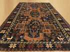 Authentic Hand Knotted Vintage Afghan Balouch Wool Area Rug 6 x 4 FT