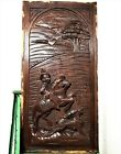 GOTHIC MEDIEVAL HUNTING SCENE PANEL Antique french carving architectural salvage