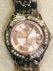 Guess Women's Stainless Steel Crystal Accented Pink Dial Watch G75791M