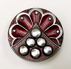 Stamped pewter button with a bold design and deep wine original color. Mint