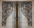 (2) Large Rose Design Corbels Heavy Duty Solid Cast Iron,16 7/8