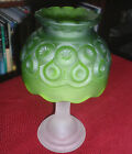 VTG L.E. SMITH FROSTED Satin MOON and STARS Green FOOTED CANDLE LAMP FAIRY LIGHT