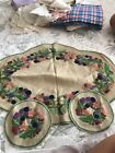Vintage Linen Table Set Hand Embroided With Berries Lovely Work