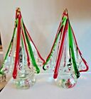 PAIR of Murano Art Glass RED  GREEN TWISTED Christmas Tree Figurines 860 Tall