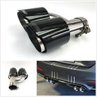 H Type Real Carbon Fiber Glossy Car SUV Exhaust Dual Pipe Tail Muffler Left Side