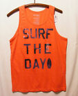 NWT Old Navy Tank Top Sihrt Orange Graphic Surf The Day Size S