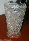 VINTAGE WEXFORD GLASS LARGE CRYSTAL FLORAL VASE DIAMOND PATTERN EXCELLENT COND