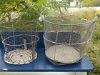2 Primitive Vintage Tin Wire Mesh Buckets Minnow or? Berry Gathering? Rustic