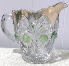 GOLD TRIM CREAMER/PITCHER w IRIDESCENT GREEN DOTS~VINTAGE EAPG
