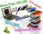 More Than 250000 + eBooks PLR Articles Quotes Resell Rights