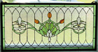 Tiffany Style Stained Glass Window Panel Fleur De Lis 32 x 16 FREE SHIP USA