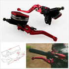 2*Red Aluminum Motorcycle Master Cylinder Reservoir Hydraulic Brake Clutch Lever
