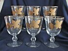Libbey Rock Sharpe Footed Water Wine Glass, Gold Leaves, 10 oz, Set of 6 Vintage