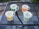 LOT OF 4 VINTAGE FIRE-KING MUGS/CUPS ANCHOR HOCKING 1950'S D HANDLE MID CENTURY