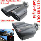 Pair L+R Plating Black Real Carbon Fiber Car SUV Dual Exhaust Pipe Refit End Tip