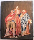 Antique Victorian Needlework Wool Tapestry Picture 3 Wise Men Magi  Shakespeare?