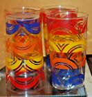 4 Colorful Vintage Small Glasses Anchor Hocking Retro Kitchenware Swanky Swig