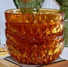 4 Vintage Honey Amber Glass Cereal Berry Bowls Honey Comb Mid Century Tableware