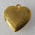 Vintage Brass Etched heart Center Locket Pendant Charm Jewelry Making 20mm