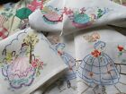 Three Vintage Hand Embroidered Tray Cloth Panels-CRINOLINE LADIES AND FLORAL'S