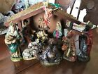 Large VINTAGE NATIVITY SET Hand Painted Paper Mache Japan EXCELLENT