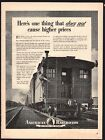 1943 WWII AMERICAN RAILROADS CABOOSE Photo w/Train Crew Member AD