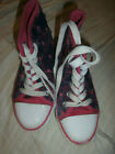 GIRLS SIZE 12 HIGH TOP SNEAKERS SHOES BY CITI STEPS BLUE AND PINK TIE