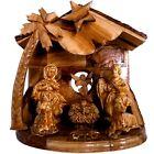 Musical Olive Wood Nativity Set with Rustic Stable Bark Roof Glued Alabaster