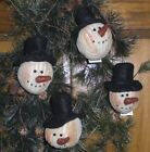 1 Primitive Folk Art Chenille Christmas Snowman Winter Ornament Bowl Filler