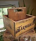 Primitive Painted Farmhouse Wood Divided Tote Box  Handcrafted 4 Stencil Sides