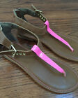 XHILARATION  Thong Sandals Dhoes Neon Pink Brown SIZE 4 NEW
