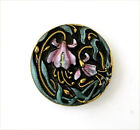 Beautiful pressed black glass button with a pink and green floral design. Mint