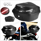 Universal 48L Motorcycle Scooter Top Box Case Rear Luggage Storage LED Lights US