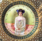 Antique Prov Saxe E S Germany JEWELED PORTRAIT GIRL PLATE Gold Painted Porcelain