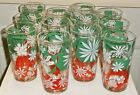 12 vintage drinking glasses red white green flowers Christmas or Italian theme