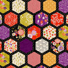 HEXAGON JAPANESE DESIGNS Black Asian Japanese Quilt Fabric By the 1 2 Yard
