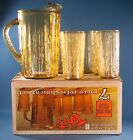 Vtg Anchor Hocking Tahiti Beverage Set Honey Gold Amber 7 Pc Set Box  500/181