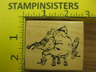 Rubber Stamp Frog with Violin Stampa Barbara Music Stampinsisters 155