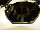 VTG Black Glass MINT CANDY  Dish WHEAT Sterling Silver Overlay Small W/ Handles