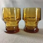 2 Libbey Georgian Honeycomb Amber Gold 8 oz Tumblers Glasses 4