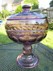 Scarce Tiffin Glass Purple Amethyst Kings Crown Covered Wedding Bowl Perfect