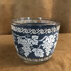 Hazel Atlas Colony blue white grapevine ice bucket barware bar grapes Vintage