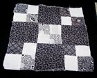 ORIGINAL ANTIQUE QUILT BLOCK-SHIRTING-MOURNING FABRIC-HAND STITCHED-ART-CRAFT#P