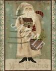 Primitive Christmas Belsnickle Santa Folk Art Feather Tree Log Cabin Print 8x10