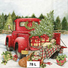 78 TWO Individual Paper Luncheon Decoupage Napkins CHRISTMAS RED TRUCK TREE