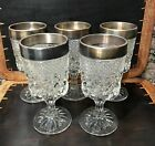 RARE Anchor Hocking WEXFORD STERLING SILVER TRIM Water GobletS ~ Set (5) LQQK :)