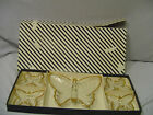 """Jeannette Butterfly Set In Box Clear Glass With Gold Candy Set Box 17""""x8"""" Vintag"""