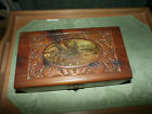 Vtg Lithograph Carved Hinged Dovetail Cedar Wood Trinket Box Jewelry Chest
